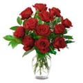 (83) 1 dozen red roses in a vase