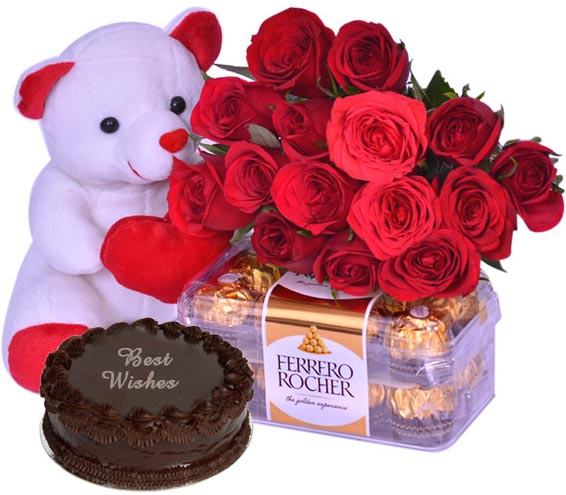 Bear W/ Cake,Chocolate,Rose