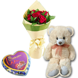 (39) Red roses W/ chocolate and Bear