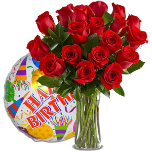 (01) 18 pcs Red Roses in vase W/Birthday Mylar Balloon