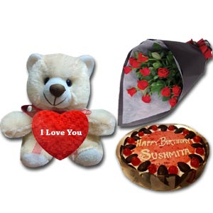 (69) Cooper's- 2.2 pound black forest cake W/ 12 pcs Roses & Love Bear