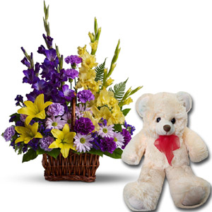 (38) Flower Basket W/ Teddy Bear