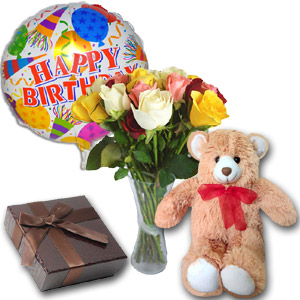(17) 1 dz mix roses in vase with teddy bear & chocolate
