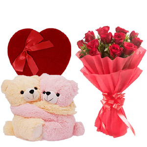 1 Dozen red roses W/ Twin bear & Chocolate