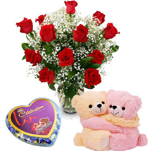 (10)1 Dozen red roses W/ bear & chocolate