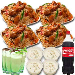 Nawabi Voj Chicken Biryani W/ Firney, Borhani & Coke - 4 Person