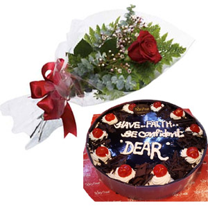 (02) Black Forest Heart Cake w/ 1 Piece Red Rose