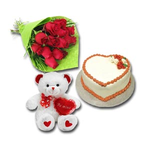 Cake w/ Roses & Teddy Bear with text Be Mine