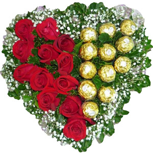 (013) Heart shaped Roses W/ Ferrero Rocher Chocolate