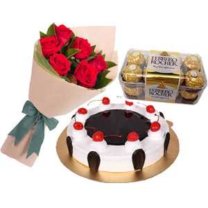 (53) Skylark - 2.2 pounds Black Forest Cake W/ 6 pcs Red Roses & Ferrero Rocher chocolate