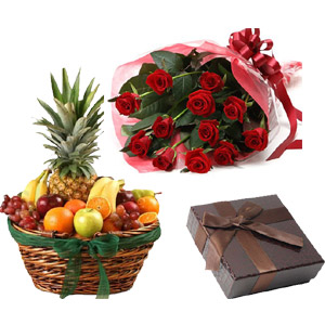 (28) Fruit Basket W/ 1 dz Red Roses & Chocolate