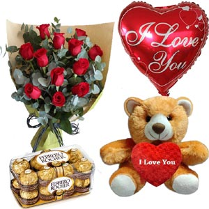 (22) Roses W/ Ferrero Rocher chocolate, Love balloon & Bear