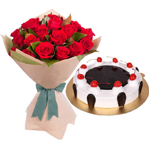 (54) Swiss - 2.2 pounds Black Forest Cake W/ 2 Dozen Red Roses