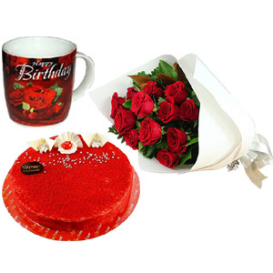 (22) Red Roses W/ Cake & Birthday Mug