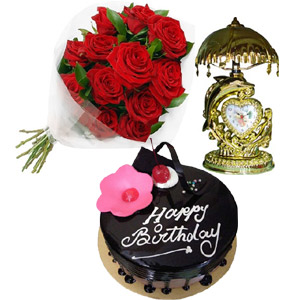(39) Red Roses W/ Chocolate Cake & Decorated Clock