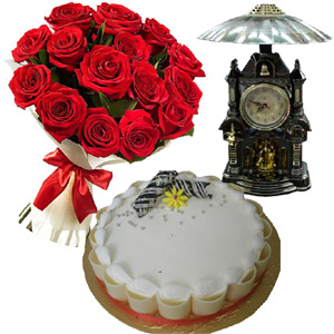 (62) Red Roses W/ Vanilla Cake & Decorated Clock
