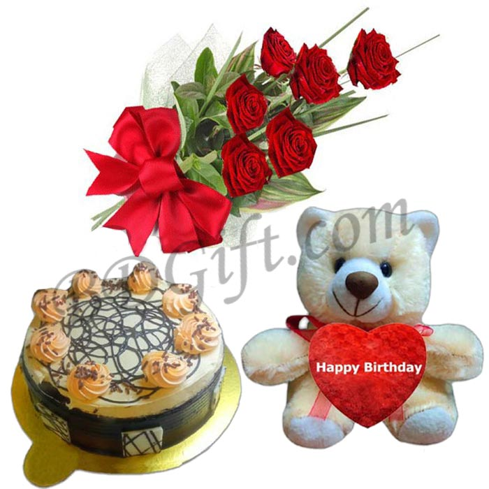 Send Shumi S Hot Cake With Roses Birthday Bear To Bangladesh