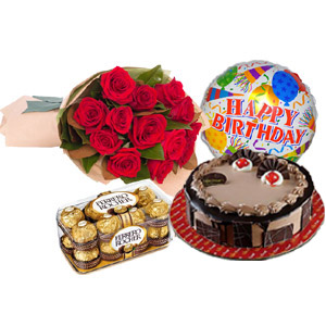 (25) Red Roses W/ Cake & Birthday balloon & Ferrero Rocher Chocolate
