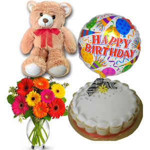 (36) 2.2 pounds cake W/ Bday Balloon, Gerberas in vase & Bear