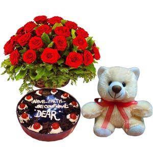 (44) Black Forest Cake W/ 2 Dozen Red Roses & bear