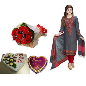 Cotton Salwar Kameez, Chocolates,Flower W/Cake