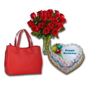 Handbag,Red roses W/Cake
