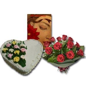 Roses, Book & Cake
