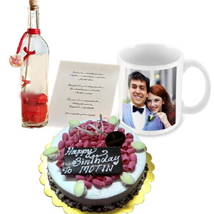 (19) Valentine Round shaped cake, Message in a bottle & Ceramic Picture Mug.