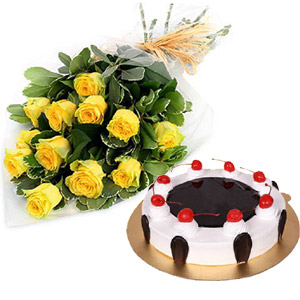 (14) 1 Dozen Yellow Roses W/ Black Forest Cake