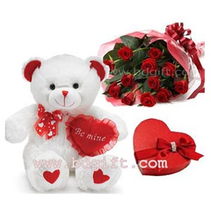(12) Red roses W/ chocolate and Bear