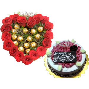 Heart shaped Roses W/ Ferrero Rocher Chocolate & Cake