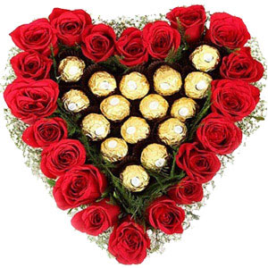 (008) Heart shaped Roses W/ Ferrero Rocher Chocolate