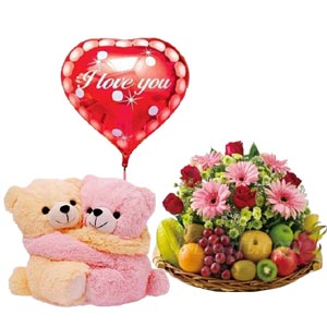 (73) Fruit Basket W/ Flowers, Twin bear & Love Balloon