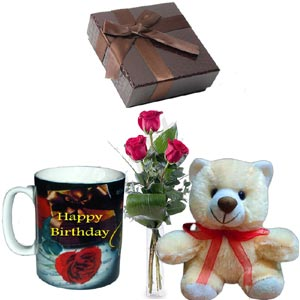 (001) 3 Pcs Red Roses in vase w/ Bear, Chocolate & Birthday Mug