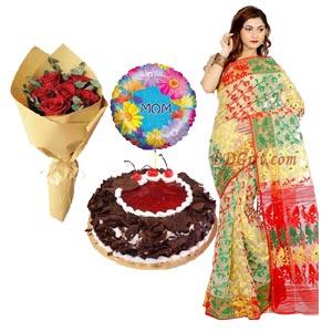 (17) Jamdani sharee W/ Mr. Baker - black forest cake, Rose & Balloon