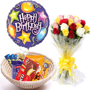 (19) Chocolates basket W/ Mixed Roses & Birthday Balloon