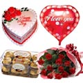 (33) Red Roses W/ Cake & Love balloon & Ferrero Rocher Chocolate