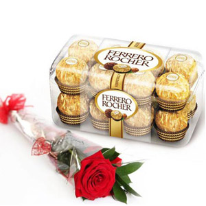 Ferrero Rocher Chocolate with Single Roses