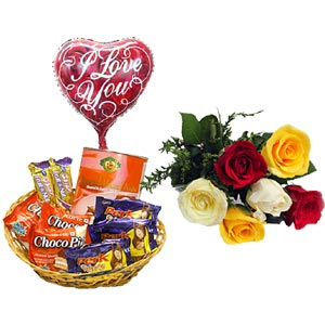 (30) Chocolates basket W/ Mixed Roses & Love Balloon