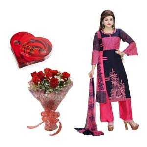 (37) Lilen Silk Salwar Kameez W/  Chocolate & 12 Pieces Red Rose