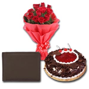 (50) Mr. Baker - Half kg Black Forest Cake W/ Wallet & 12 Pcs Red Roses