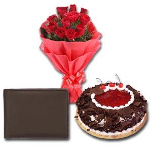(21) Mr. Baker - Half kg Black Forest Cake W/ Wallet & 12 Pcs Red Roses