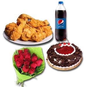 (12)  Mr. Baker - Cake W/ KFC- 4 Pcs Crispy Chicken W/ Pepsi & 12 pcs Red Roses
