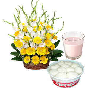 Flowers W/ sweets & candle