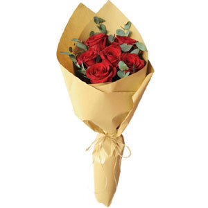 (02) 6 pcs red roses in bouquet