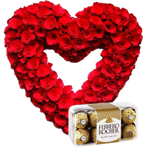 (005) Heart Shaped Red Roses W/Ferrero Rocher Chocolates