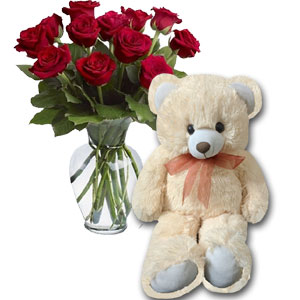 1 dz Red Roses in vase W/Bear