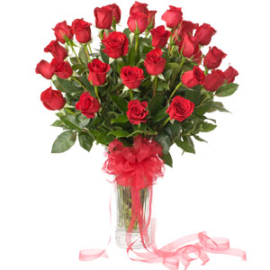 (43) 2 dozen red roses in a vase