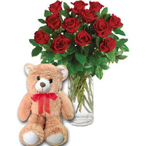 (12) 1 dozen roses in vase W/ Teddy Bear