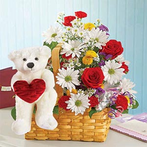 Flower Basket W/ Teddy Bear & Heart